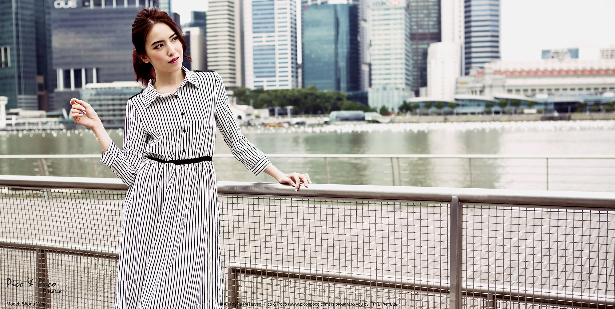 3-quarter sleeves striped maxi dress (black)