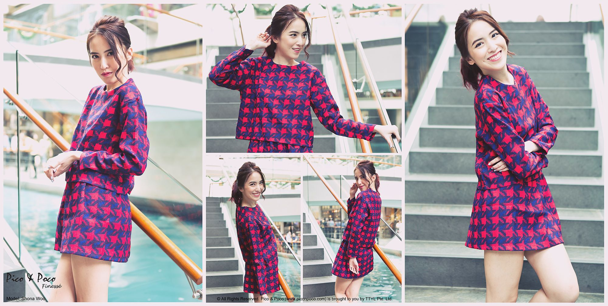 Red and blue checkered matching long-sleeved top and skirt