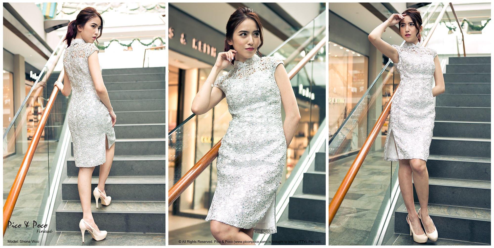 Silver meah with sequins Cheongsam
