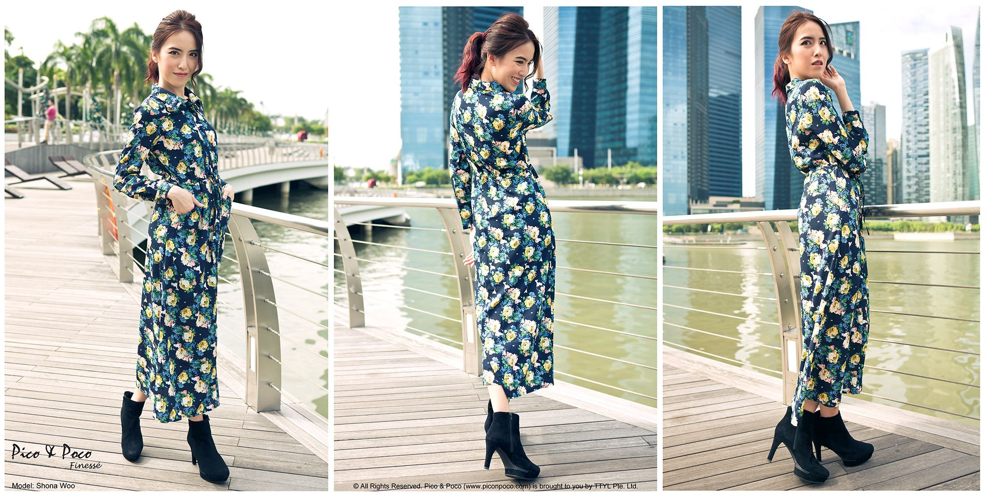 Long-sleeved floral maxi dress with side pockets