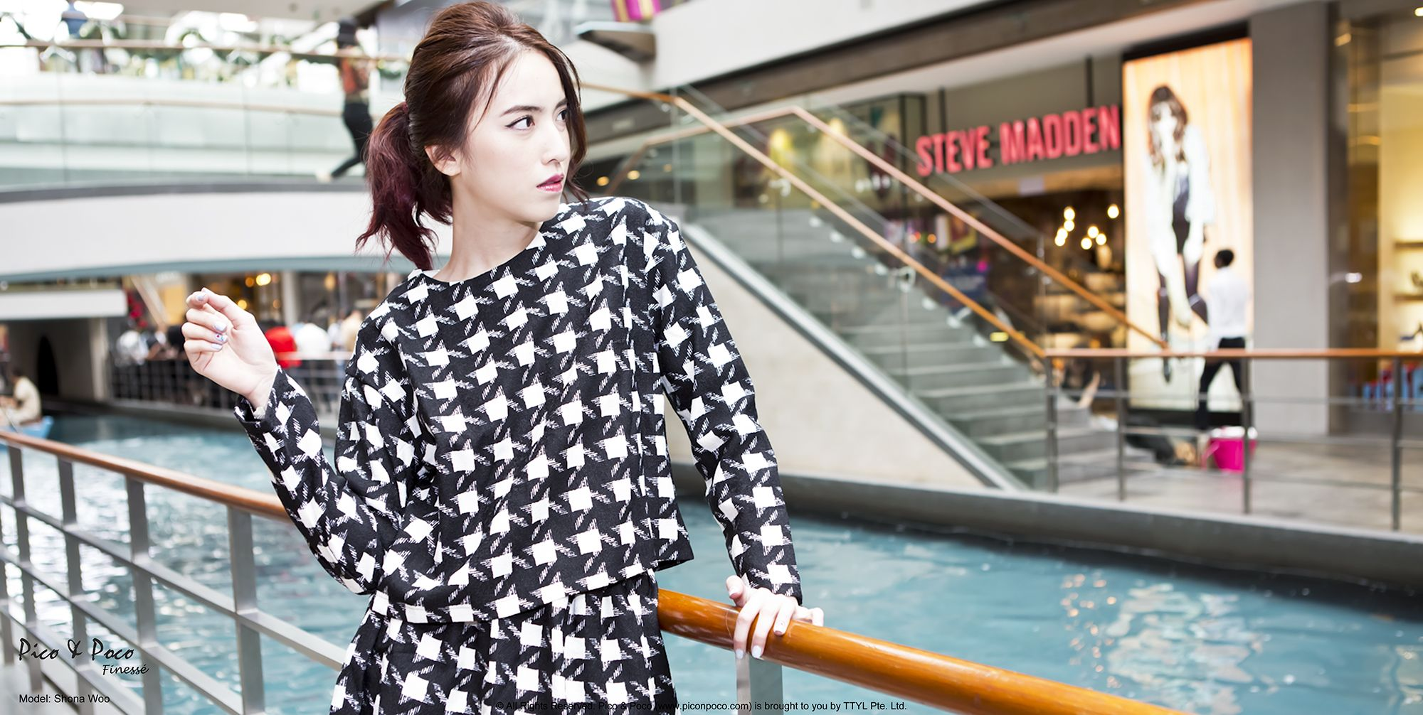 Black and white checkeredmatching long-sleeved top and skirt