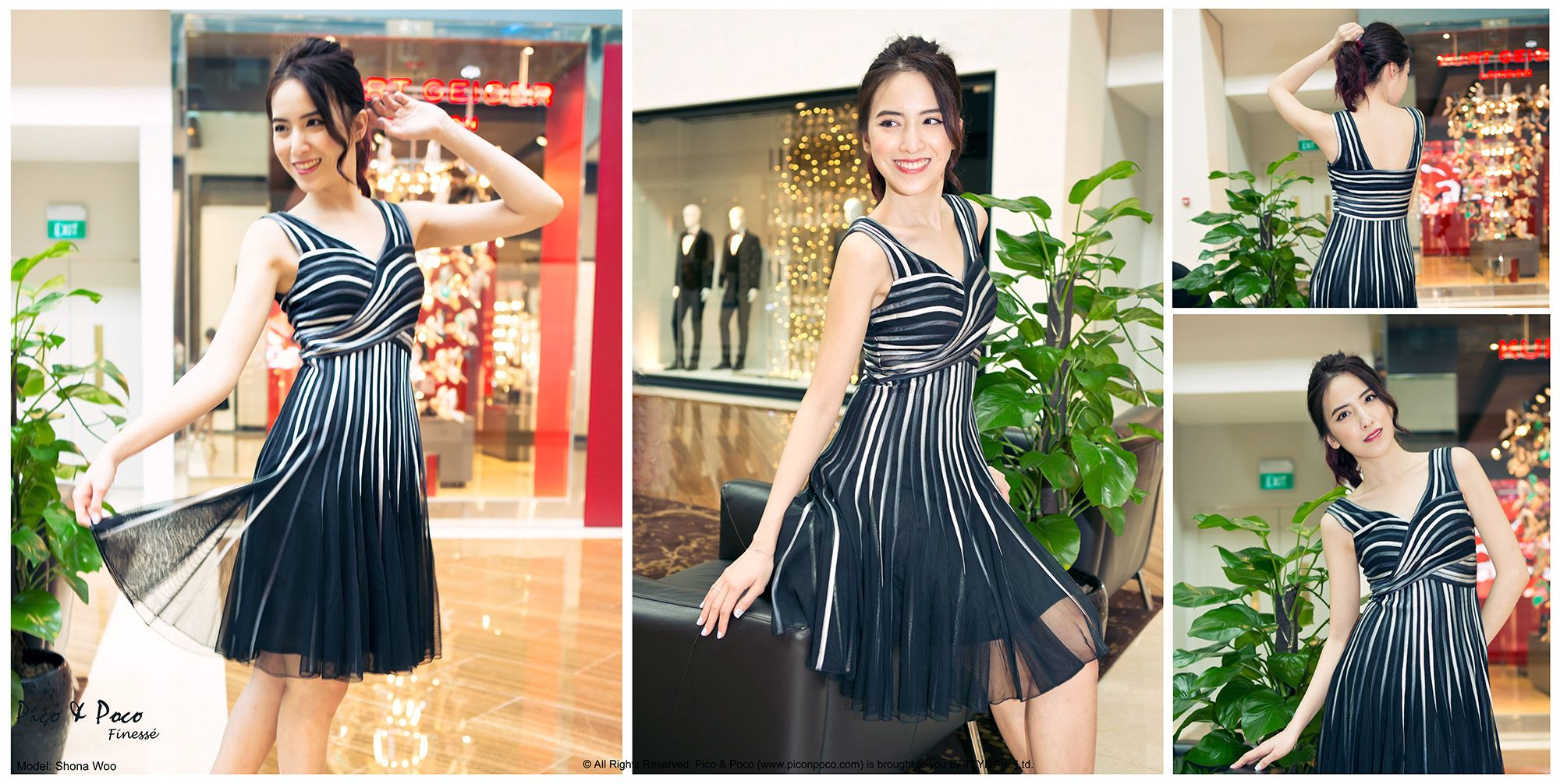 Black dress with blue and silver stripes sewn on tulle netting