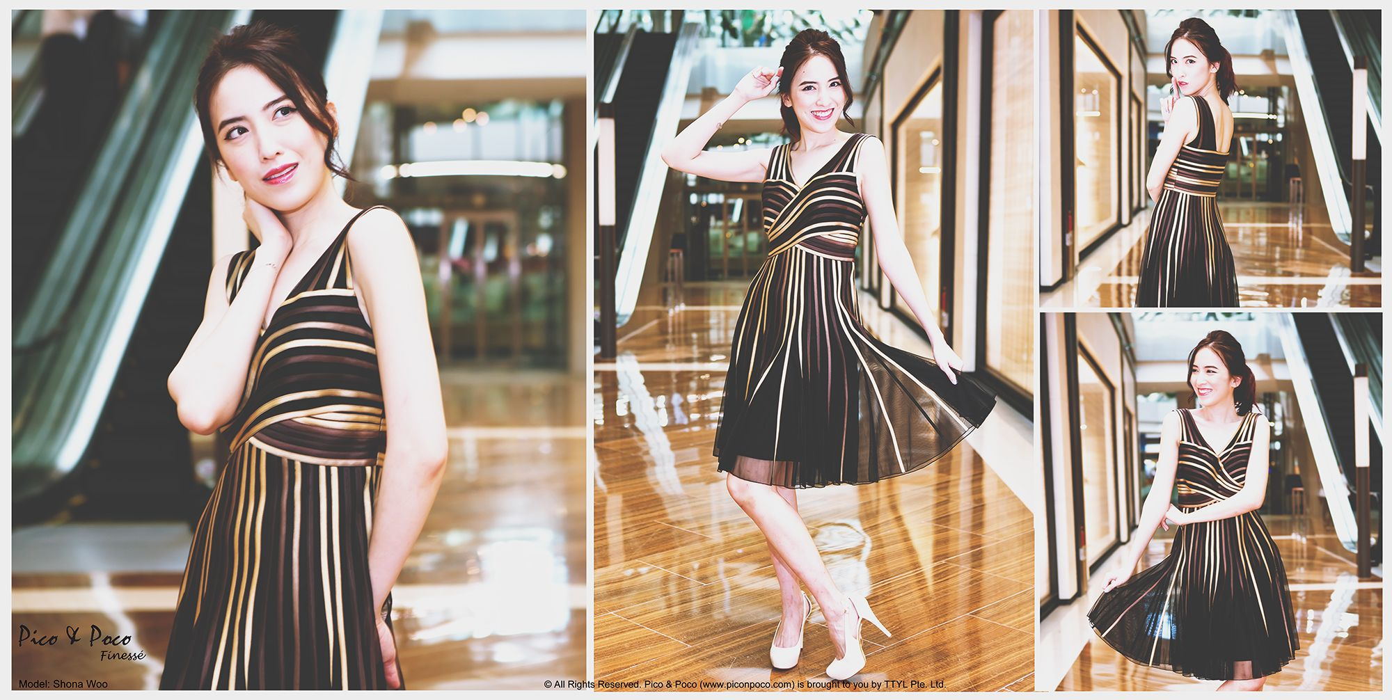 Black dress with brown and gold stripes sewn on tulle netting.jp