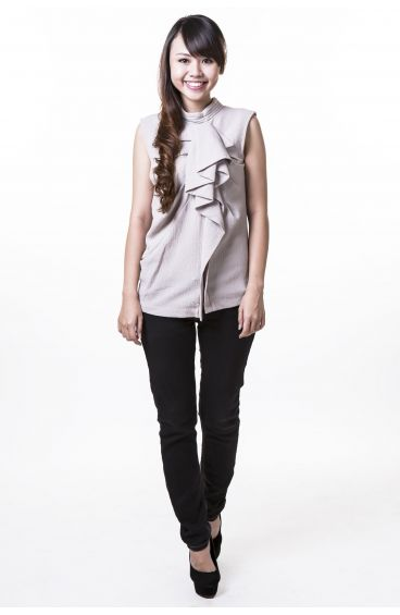 Polyester sleeveless top with ruffle front (Grey)
