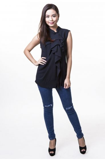 Polyester sleeveless top with ruffle front (Blue)