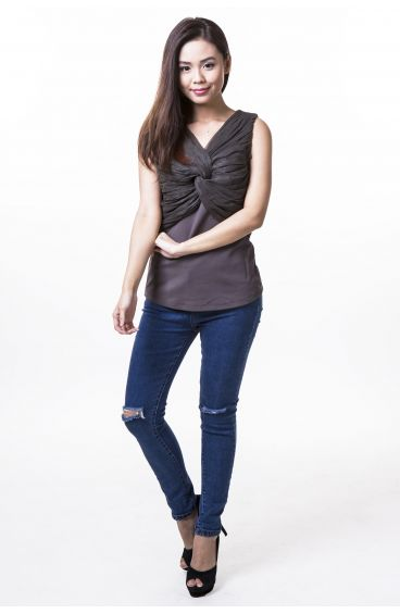 Grey sleeveless top with chiffon twisted cloth front