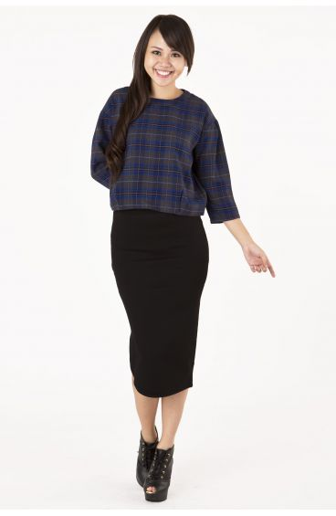 Tube pencil skirt with zipper slit at the side (Black)