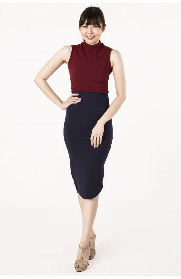 Tube pencil skirt with zipper slit at the side (Blue)
