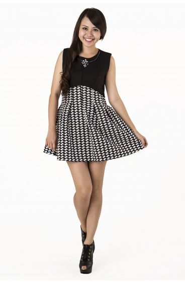Black and white dress with jewel embellishment