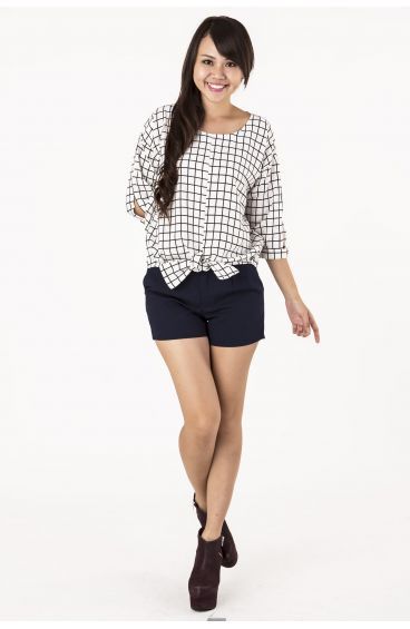 3-quarter sleeves chiffon blouse_checkered