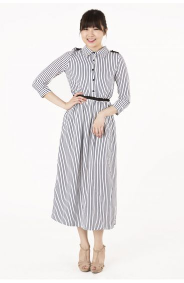 3-quarter sleeves striped maxi dress (Blue)