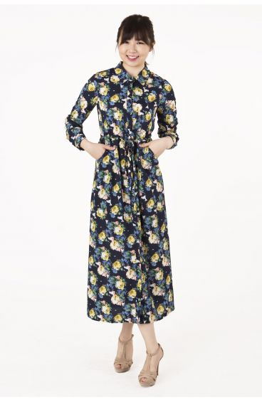 Long-sleeved floral maxi dress with side pockets (Blue with floral prints)