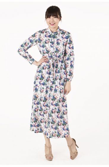 Long-sleeved floral maxi dress with side pockets (White with floral prints)
