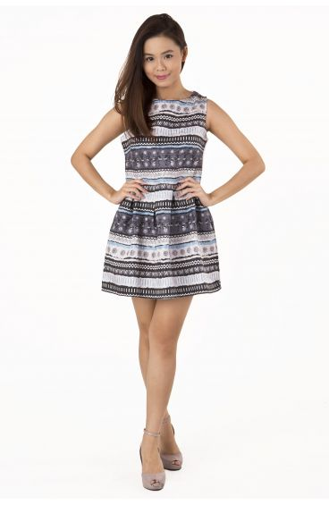 Embossed textured print dress (Tribal prints)