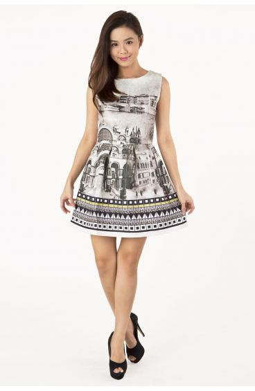 Embossed textured print dress (Scenic view prints in sepia)