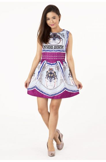 Embossed textured print dress (Purple)