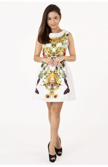 Embossed textured print dress (Butterfly prints)