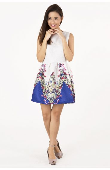 Embossed textured print dress (Purple base with red floral prints)
