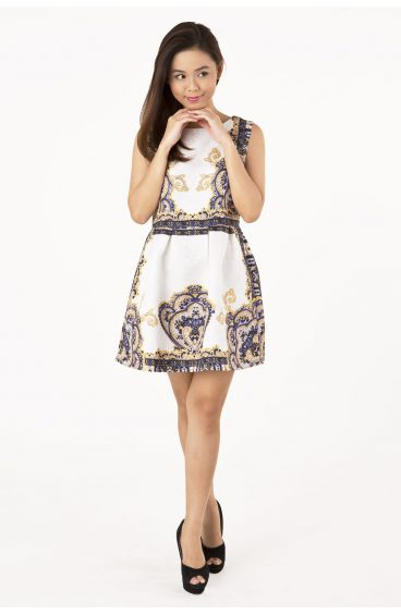 Embossed textured print dress (Baroque prints in blue)