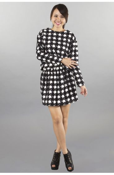 Black and white checkered matching long-sleeved top and skirt