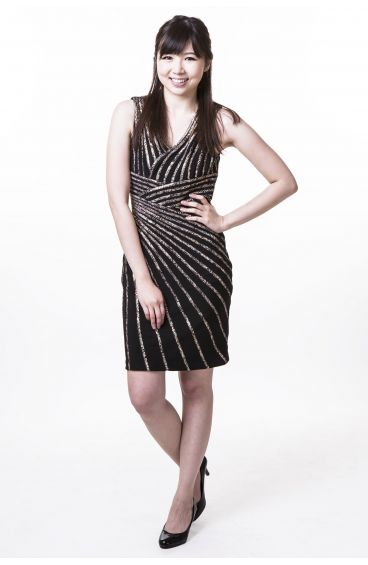 Black pencil dress with gold strips