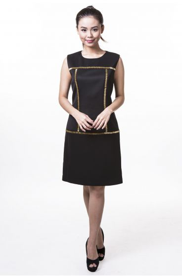 Black dress with gold beads
