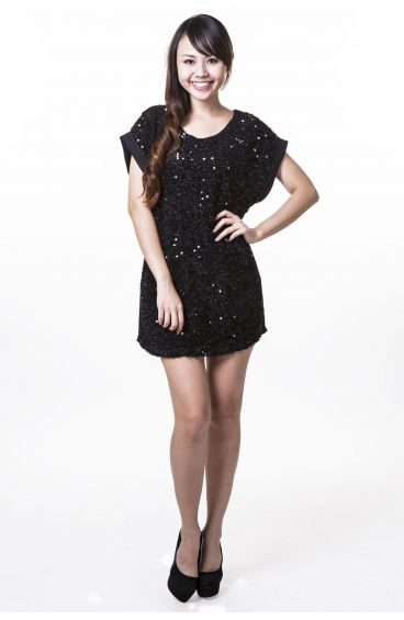 Dress with gold sequins (Black)
