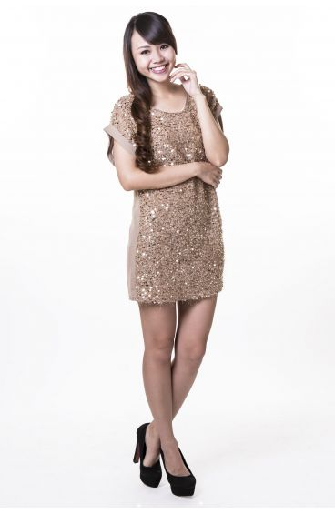 Dress with gold sequins (Coffee)