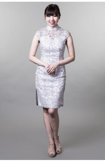 Cheongsam (Silver mesh with sequins)