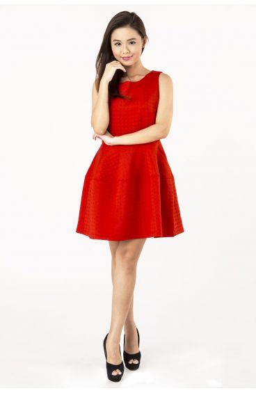 Diamond embossed prints textured dress (Red)