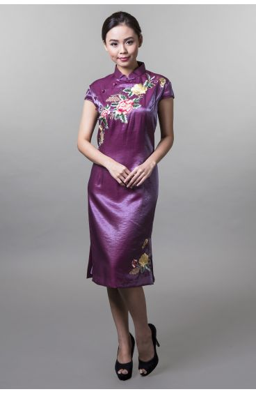 Cheongsam (Maroon base with embroidered flowers)