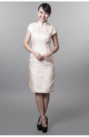 Cheongsam (Pale yellow base with gold trimming)