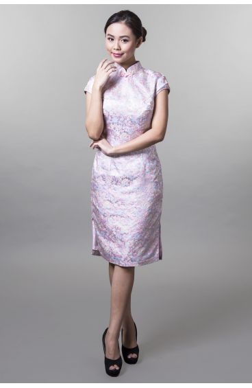 Cheongsam (Light pink base and trimming with turquoise and light yellow flower prints)