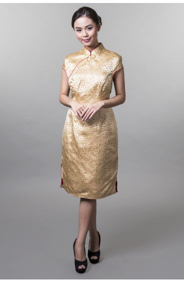 Cheongsam (Gold base with small red and gold flower prints and red trimming)