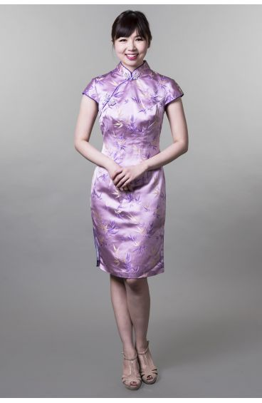 Cheongsam (Purple base and trimming with pale yellow & purple bamboo leaves prints)