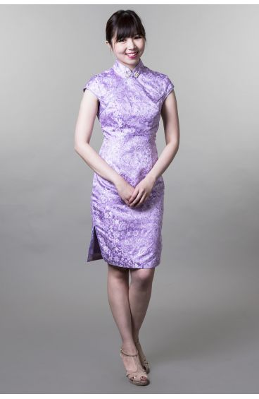 Cheongsam (Light purple base with silver and purple trimming flower prints)