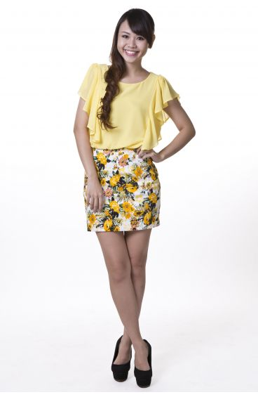 Chiffon floral dress (Yellow)