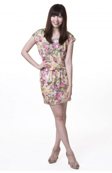 Floral print cotton dress with side pockets (Pink flowers with brown base)