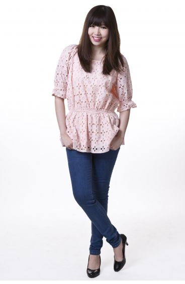 Embroided print cotton top in pink