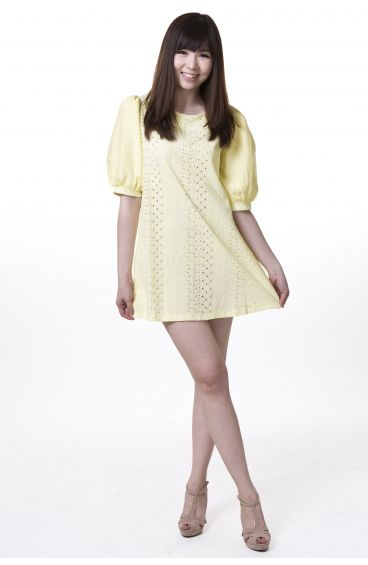 Embroided print cotton dress with puffy sleeves (Yellow)