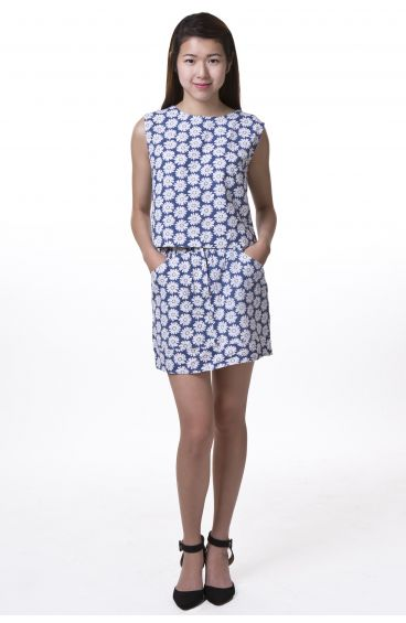 Flower matching top and skirt (Blue)