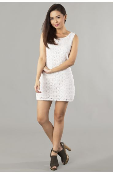 White embroided print dress