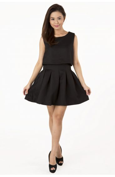 Double layered pleated dress (Black)