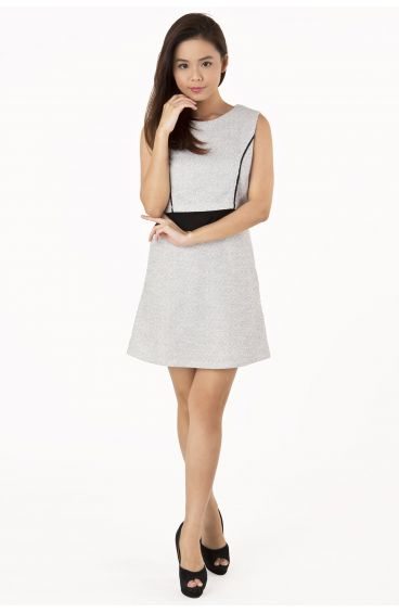 Double layered tweed a-line dress (Silverish Grey)