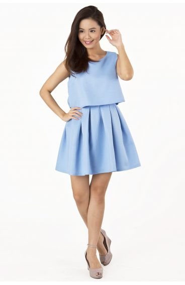 Double layered pleated dress (Baby Blue)