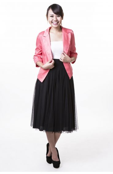 Shimmering 3-quarter sleeves jacket (Watermelon pink)