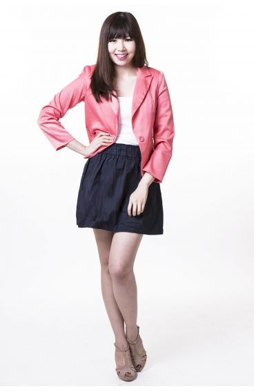 Shimmering long-sleeves jacket (Watermelon pink)